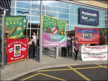 RMT demo against low pay at Condor Ferries, 21.7.12, photo Daz Procter