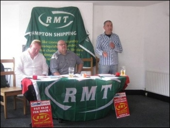 RMT assistant national secretary Mark Carden addressing the post-demo meeting, against Condor 'sweatships'. 21.7.12, photo by Daz Procter