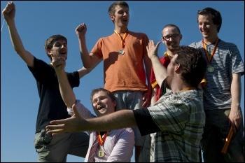 YFJ Austerity Games, the winning team, 23.7.12, photo Paul Mattsson