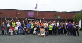 Leeds, second day of Remploy strike, 26.7.12, photo by Iain Dalton