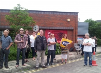 PCS DWP group president Fran Heathcote (2nd from right) at Leeds Remploy picket line, 26.7.12, photo by K Williams