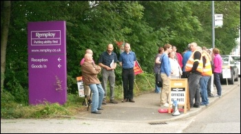 Remploy strike, Chesterfield, 26.7.12, photo by Dave Gorton