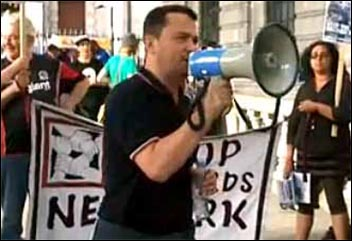 Rob Williams, chair National Shop Stewards Network, speaking at the protest outside the South African embassy, photo by Iain Dalton