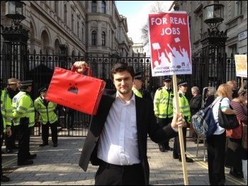 Youth Fight for Jobs protest outside Downing Street on budget day 2012, photo Suzanne Beishon