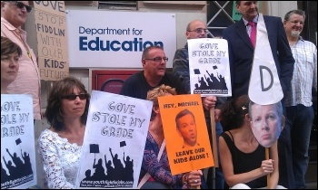 NUT protest outside the Department of Education by teachers and parents opposed to the GCSE regrading in August 2012, photo Neil Cafferky