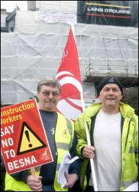 Building workers fight pay cut: at Cardiff's Royal Infirmary 24 August, fighting Besna 2, led by electrician and TUSC candidate Andrew Wilkes (on right), photo Sarah Mayo