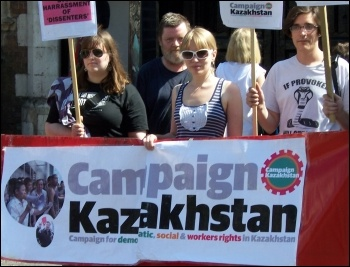 Campaign Kazakhstan protest in London 26 July 2012 against UK business links with the Kazakhstan regime, photo Dave Carr