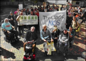 UK Uncut and Disabled People against Cuts protest against ATOS, the Paralympics Sponsors, in Hartshead Square ,Sheffield, photo Alistair Tice