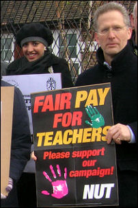 Merlin school teachers on their picket line in March 2008, photo Martin Powell-Davies