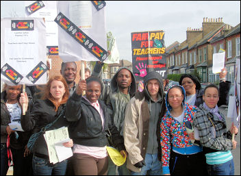 Teachers on strike on 24 April 2008 in Lewisham, photo Martin Powell-Davies