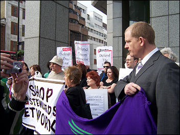 Lobby of Unison disciplinary hearings against four Socialist Party members, photo Alison Hill