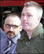 Onay Kasab and Glenn Kelly speak to the lobby  of Unison disciplinary hearings against four Socialist Party members, photo Alison Hill