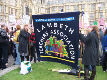 There were a number of trade union banners present, photo Leah Jones and Anna Engelhardt