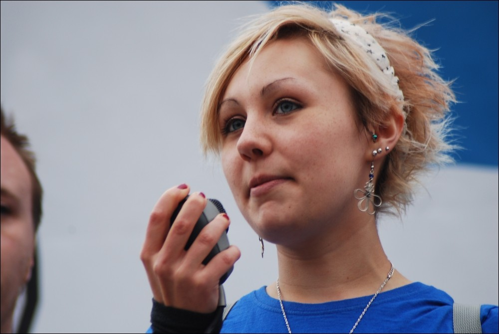 Lizi Gray, whose great grandfather was one of the original Jarrow Marchers, addresses the Jarrow March for Jobs 2011, which ended with a demonstration in London on 5 November